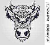 line art bull cow decorative... | Shutterstock .eps vector #1505509148