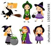 cute witch set. cartoon girls... | Shutterstock . vector #1505514698