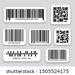 Stock vector business barcodes and qr codes vector set black striped code for digital identification realistic 1505524175