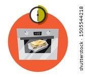 delicious lasagna cooking in... | Shutterstock .eps vector #1505544218