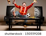 soccer supporter is sitting on... | Shutterstock . vector #150559208