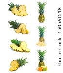 set of fresh pineapple fruits... | Shutterstock . vector #150561518