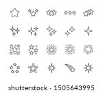 Stars flat line icons set. Starry night, falling star, firework, twinkle, glow, glitter burst vector illustrations. Outline signs for glossy material property. Pixel perfect. Editable Strokes.