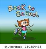 back to school. happy girl... | Shutterstock .eps vector #150564485
