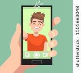 man taking selfie photo on... | Shutterstock .eps vector #1505663048