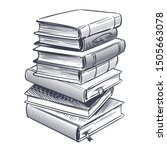 stack of books sketch. drawings ... | Shutterstock .eps vector #1505663078