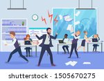 angry boss in office flat... | Shutterstock .eps vector #1505670275