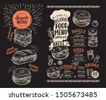 bagel and sandwich menu... | Shutterstock .eps vector #1505673485