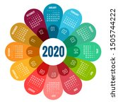colorful round calendar 2020... | Shutterstock .eps vector #1505744222