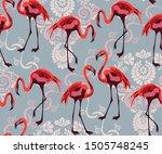 tropical wildlife  flamingo... | Shutterstock .eps vector #1505748245
