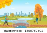 Man walking in park with cup of coffee. Janitor sweeping orange foliage on outdoor territory. Bridge under lake with swimming ducks. People in autumn lawn and beautiful cityscape on background, vector - stock vector