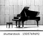 Grand Piano Set On Stage  B W