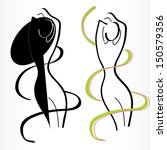 silhouettes of woman for ... | Shutterstock .eps vector #150579356