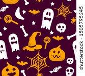 seamless halloween theme icons... | Shutterstock .eps vector #1505795345