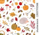 autumn hand drawn vector... | Shutterstock .eps vector #1505795588
