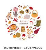 autumn hand drawn vector... | Shutterstock .eps vector #1505796002