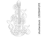a guitar with notes and... | Shutterstock .eps vector #1505849195