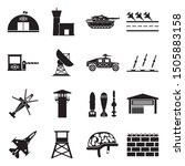 Military Base Icons. Black Flat Design. Vector Illustration.