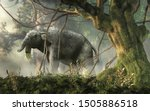 "The hoe tusker, or Deinotherium (""terrible beast""), was a prehistoric relative of Elephants with strange downward-curving tusks from its lower jaws. 3D Rendering."