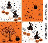 halloween  orange and black... | Shutterstock .eps vector #1505907182