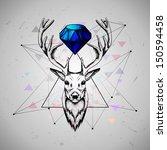 deer with diamond  .rasterized... | Shutterstock . vector #150594458