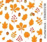 autumn leaves seamless pattern. ... | Shutterstock .eps vector #1506003158