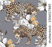 seamless floral pattern. gold...   Shutterstock .eps vector #1506017885