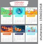 Cartoon Calendar 2020 Year....