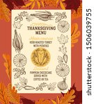 thanksgiving menu with autumn... | Shutterstock .eps vector #1506039755