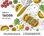 tacos cooking and ingredients... | Shutterstock .eps vector #1506068345