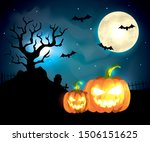 pumpkins with bats flying in... | Shutterstock .eps vector #1506151625