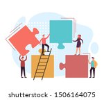 business teamwork puzzle... | Shutterstock .eps vector #1506164075