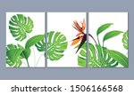 set of three wall paintings ... | Shutterstock .eps vector #1506166568