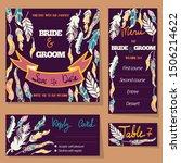feather vector card templates.  ... | Shutterstock .eps vector #1506214622