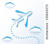 blue paper vector flying plane... | Shutterstock .eps vector #150624272