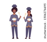 cooks couple professional chefs ... | Shutterstock .eps vector #1506276695