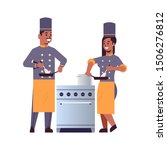 cooks couple professional chefs ... | Shutterstock .eps vector #1506276812