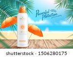 sunscreen spray ads on wooden... | Shutterstock .eps vector #1506280175
