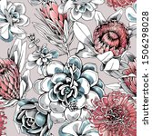 seamless floral pattern. protea ...   Shutterstock .eps vector #1506298028