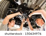 portrait of repairmen under a... | Shutterstock . vector #150634976
