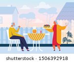 old people eating sweets flat... | Shutterstock .eps vector #1506392918