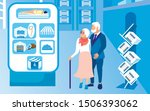 senior couple looking about... | Shutterstock .eps vector #1506393062