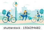 man and woman riding bicycles... | Shutterstock .eps vector #1506394682