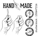 hand made icon with hand and...   Shutterstock .eps vector #150647216