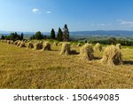 Field With Some Bundles Of Hay...