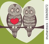 owl couple in love on tree with ... | Shutterstock .eps vector #150650072