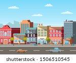 empty street  buildings colored ... | Shutterstock .eps vector #1506510545