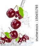 fresh cherry in water splash  | Shutterstock . vector #150651785