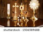 Golden christianity symbols...
