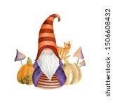 Halloween Gnome  Pumpkins  Cat  ...